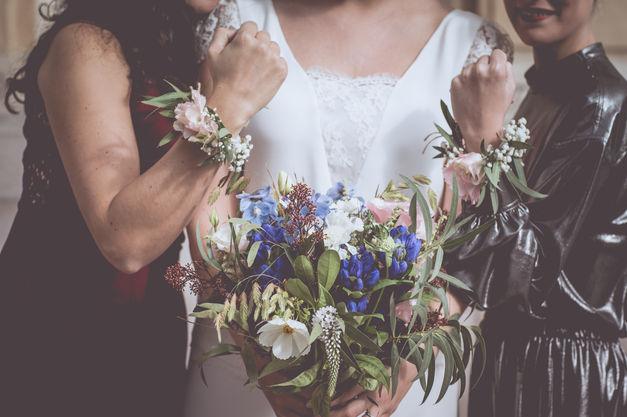 mariage champêtre bohême, les fleurs