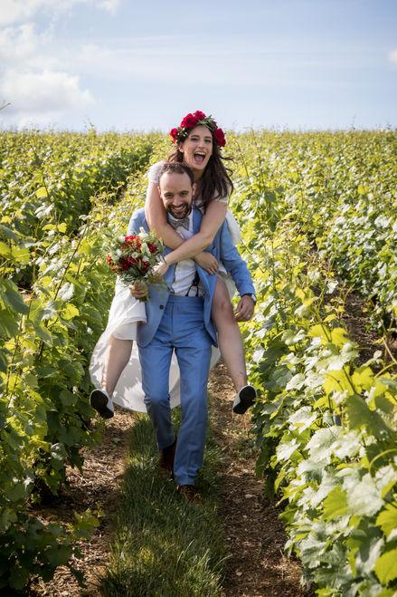 mariage en rouge et bleu, en Champagne