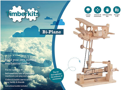 Biplane Natural Wood Automata Model Kit with Various Accessory Options