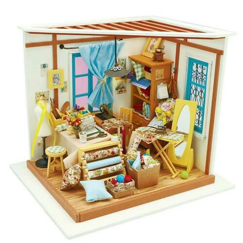 Lisa's Tailor Studi Doll's House Miniature Sewing Room Work Dollhouse with LED