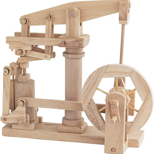 Beam Engine Natural Wood Automata Model Kit Traditional Working Wooden Toy