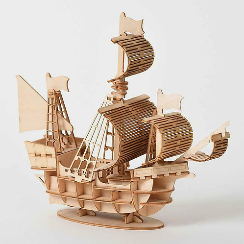 Sailing Ship 3D Wooden Puzzle Model Kit Build Yourself