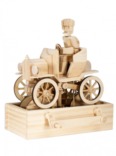Vintage Car Natural Wood Moving Model Kit Various Accessory Options