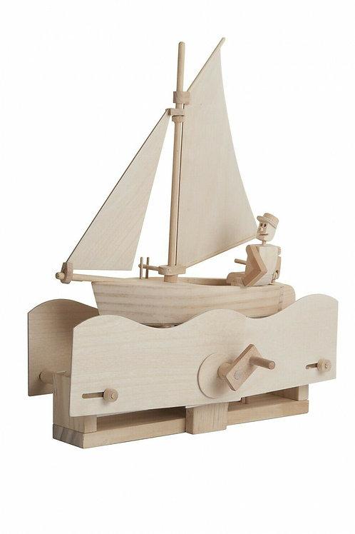Salty Sailor Moving Automata Wooden Model Kit by Timberkits Natural Wood