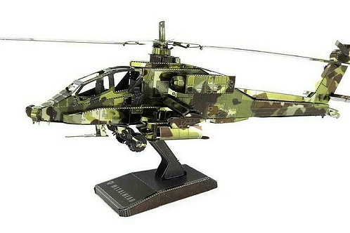 Apache Helicopter 3D Metal Model Kit Laser-Cut Coloured