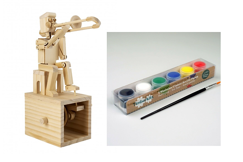 Trombone Player Kit Moving Wooden Model with Paint Set
