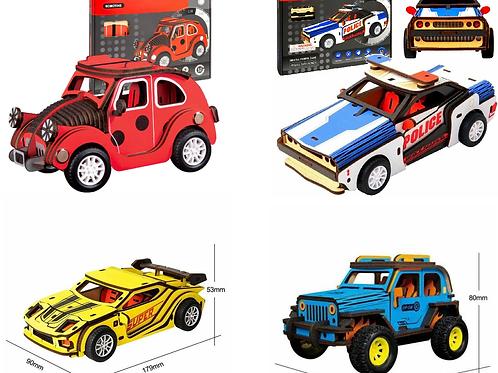 Bundle of 4 Wooden Inertia Car Model Kits Robotime Build Your Own Push n Go Toys