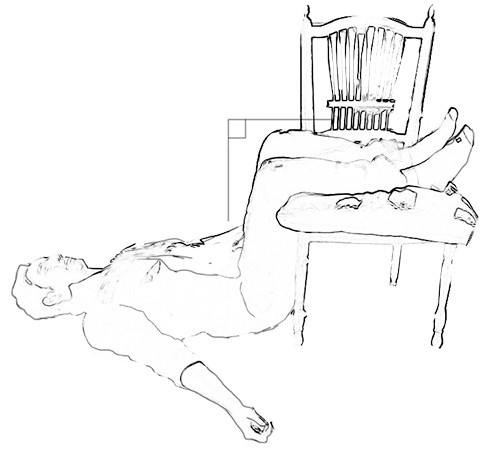 טיפול עצמי בכאבי גב תחתון - שכיבה סטטית עם כיסא