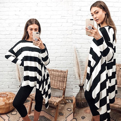 Bold Stripe asymmetrical top
