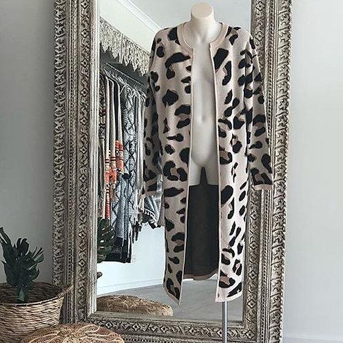 Lepoard print coat- Pink/Grey