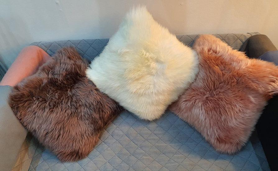 Sheepskin fur cushion