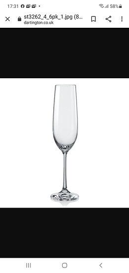 Dartington champagne flute set of 6