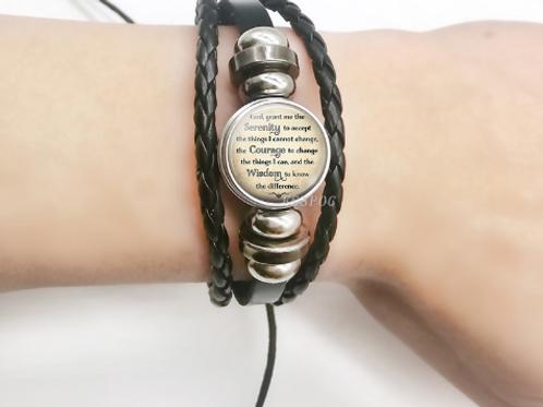 Serenity Prayer APF Leather Bracelet