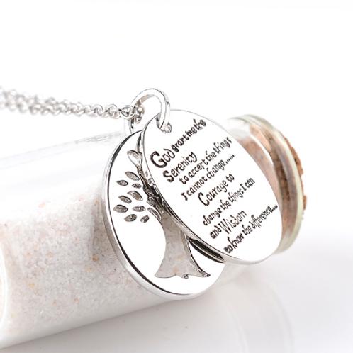 Serenity Prayer & Tree of Life Locket Necklace