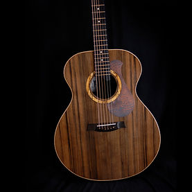 high end acoustic guitar with copper pick guard