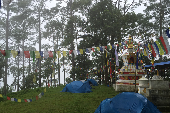 Camping near a temple