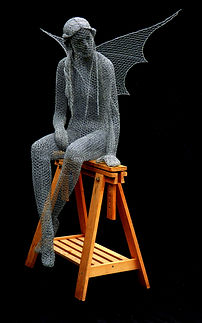 "Wire Sculpture ""The Wood Cutters Sprite"" by Derek Kinzett Wire Sculptures"
