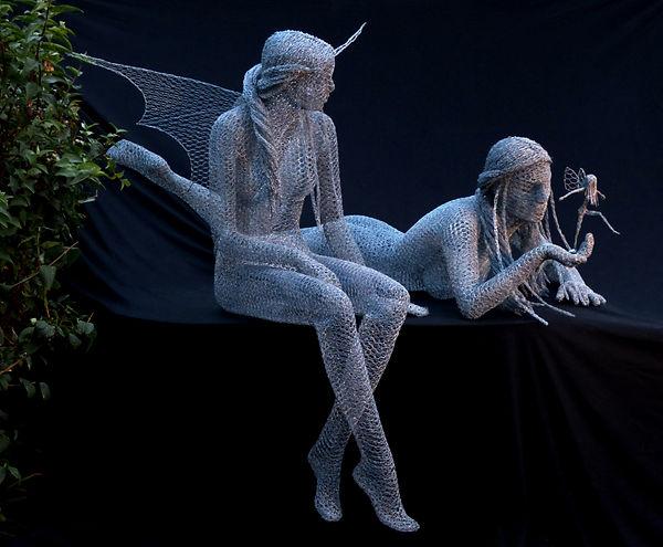 """Wire Sculpture """"The Secret Garden"""" by Derek Kinzett"""
