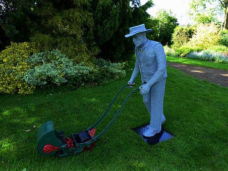 """Wire Sculpture """" The Old Vicarage Gardener"""" by Derek Kinzett Wire Sculptures"""