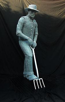 """Wire Sculpture """"The Cottage Gardener"""" by Derek Kinzett Wire Sculptures"""