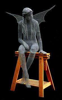 """Wire Sculpture """"The Woodcutters Sprite"""" by Derek Kinzett Wire Sculptures"""