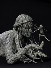"""The Secret Sprite"" Wire Sculpture by Derek Kinzett"
