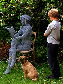 "Wire Sculpture ""The Reader"" by Derek Kinzett Wire Sculptures"