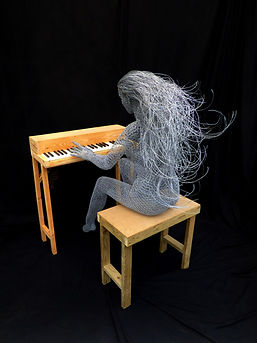 "Wire Sculpture ""Spirit of the Piano"" by Derek Kinzett - Wire Sculptures"