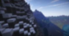 A mountainous region build in Minecraft