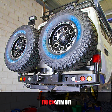 RockArmor's Dual Spare Wheel Carrier - Toyota Land Cruiser 75/76/78/79 Series