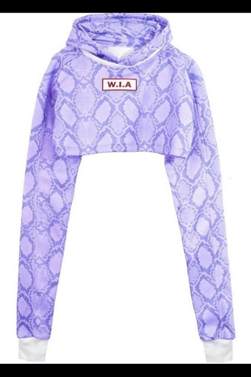 W.I.A COLLECTIONS SERPE PURPLE CROP HOODIE