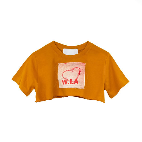 W.I.A. COLLECTIONS BLOODY HEART CROP T-SHIRT