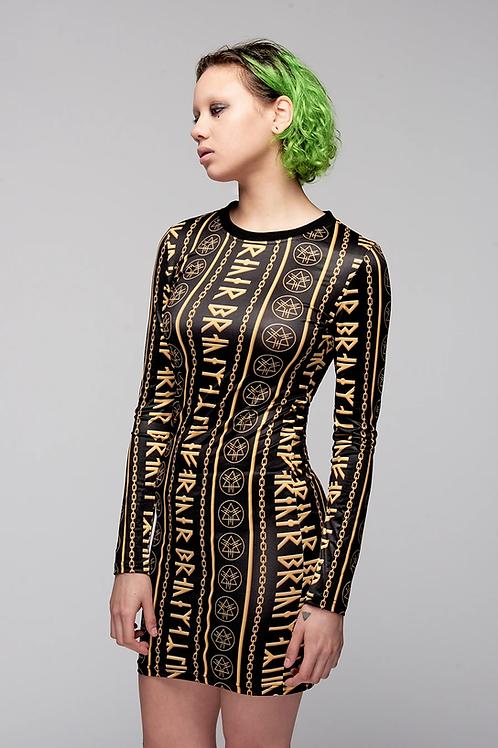 LONG CLOTHING Gold Rune Dress