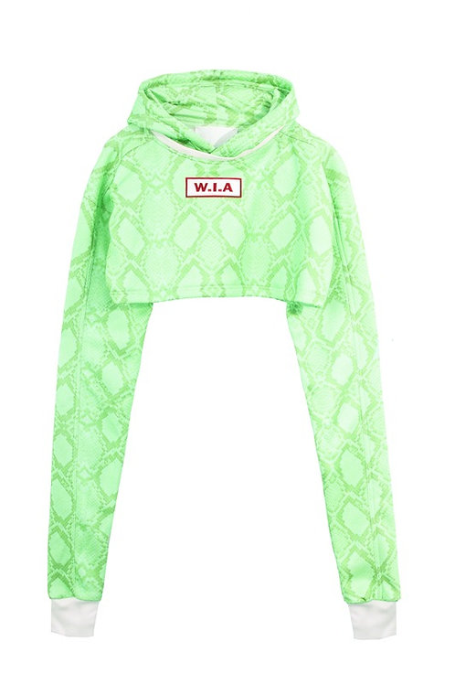 W.I.A COLLECTIONS SERPE GREEN CROP HOODIE