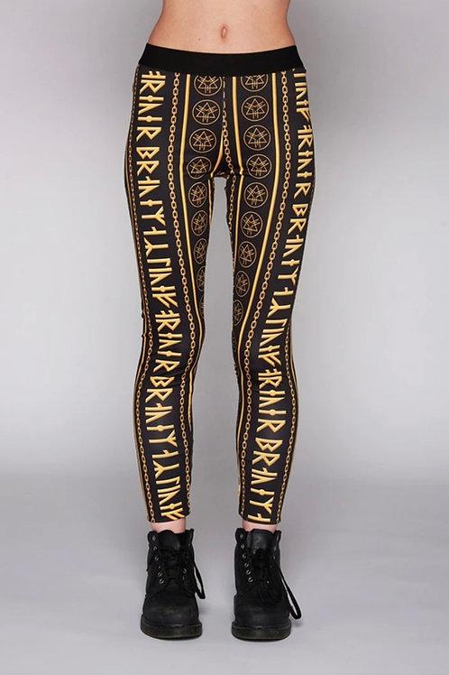 LONG CLOTHING Gold Rune Leggings