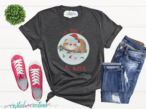 Eat Sleep and Be Merry Sloth Short-Sleeve Unisex T-Shirt