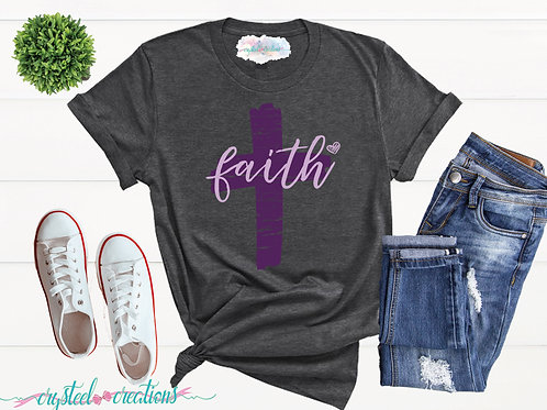 Faith Cross with Heart Distressed Short-Sleeve Unisex T-Shirt