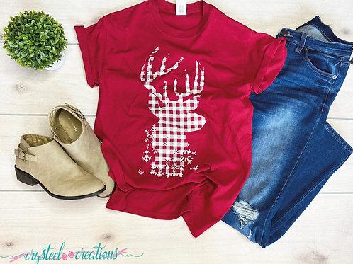 Buffalo Plaid Winter Deer Head Shirt