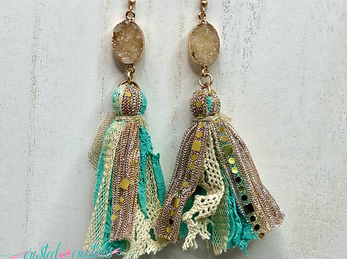 Teal and Gold Tassel Earrings