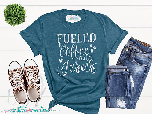Fueled by Coffee and Jesus Colored Short-Sleeve Unisex T-Shirt