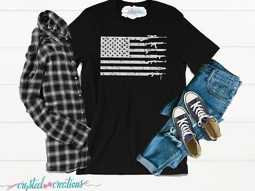 Distressed Gun Flag Short-Sleeve Unisex T-Shirt