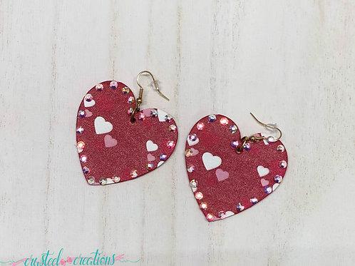 Leather Heart Gem Earrings