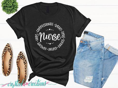 Nurse Round words Short-Sleeve Unisex T-Shirt