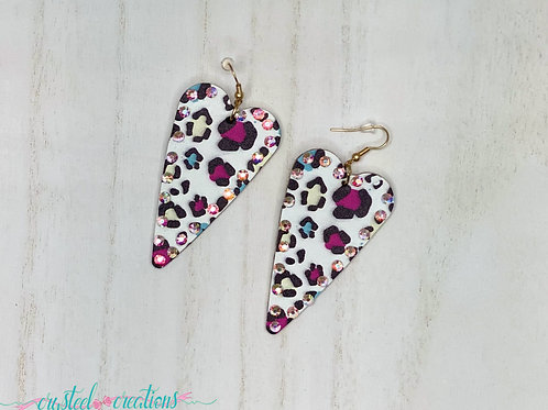Leather Leopard Heart Gem Earrings