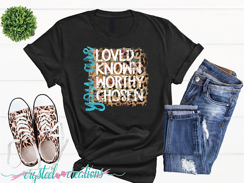 You Are Worthy, Loved, Known, Chosen Inspirational Leopard Short-Sleeve T-Shirt