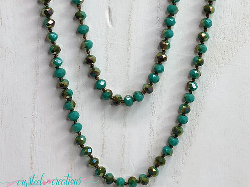 Teal and Brown 60 Inch Beaded Necklace