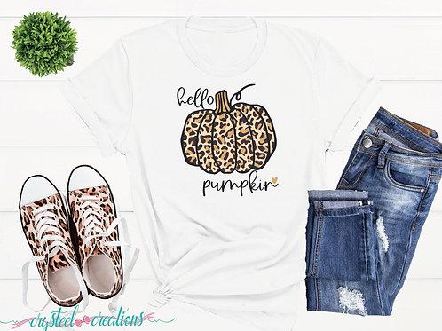 Hello Pumpkin Leopard Print Pumpkin Short-Sleeve Unisex T-Shirt