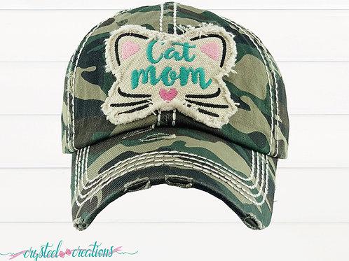 Cat Mom Distressed Hat