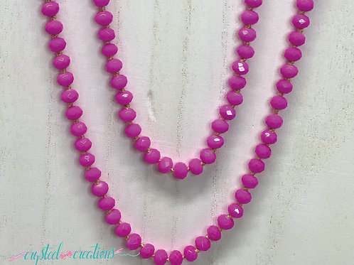 Hot Pink 60 Inch Beaded Necklace