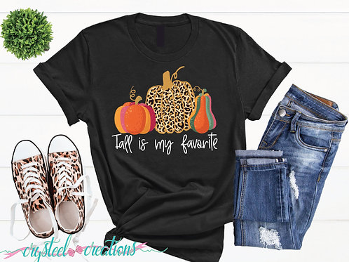 Fall is my Favorite Leopard Print Pumpkin Short-Sleeve Unisex T-Shirt